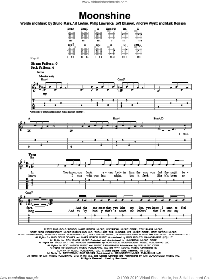 Moonshine sheet music for guitar solo (easy tablature) by Bruno Mars, easy guitar (easy tablature). Score Image Preview.