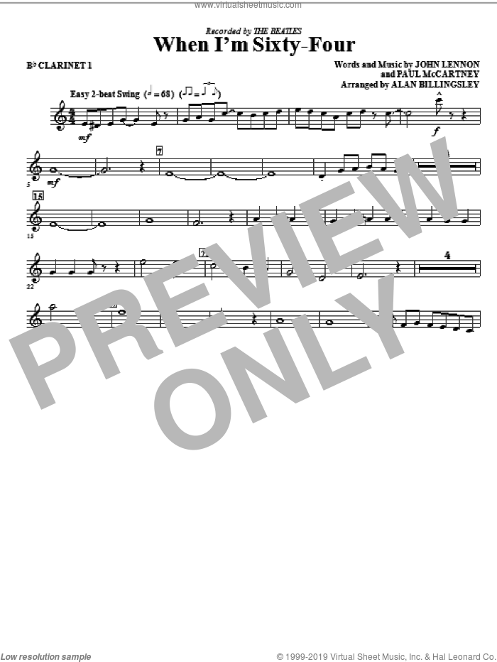 When I'm Sixty-Four (complete set of parts) sheet music for orchestra/band (Special) by The Beatles, Alan Billingsley, John Lennon and Paul McCartney, intermediate skill level