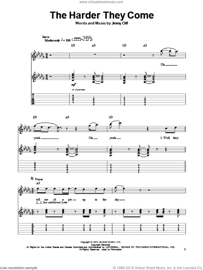 The Harder They Come sheet music for guitar (tablature, play-along) by Jimmy Cliff. Score Image Preview.