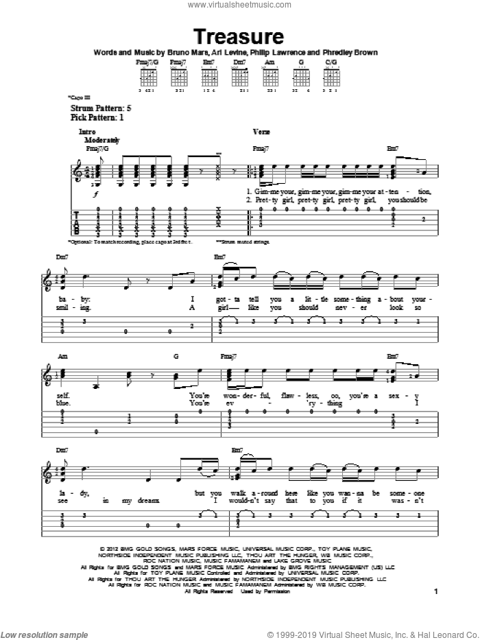 Treasure sheet music for guitar solo (easy tablature) by Bruno Mars, easy guitar (easy tablature)