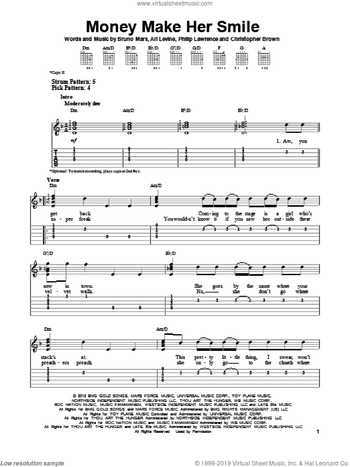 Money Make Her Smile sheet music for guitar solo (easy tablature) by Bruno Mars
