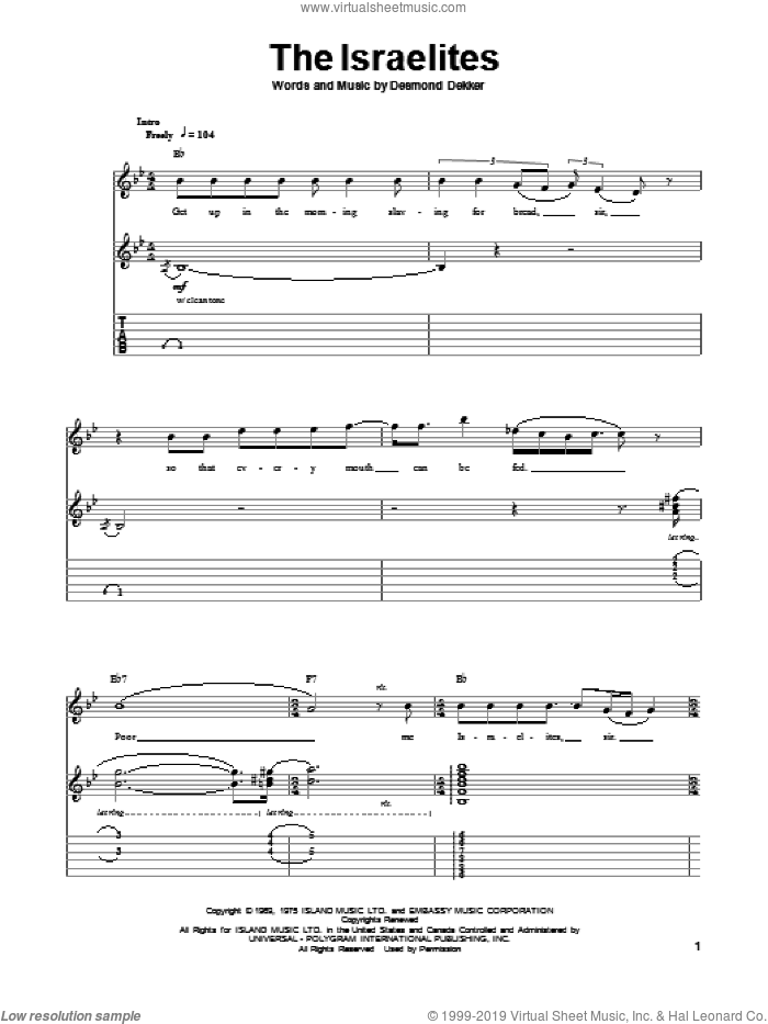 The Israelites sheet music for guitar (tablature, play-along) by Desmond Dekker & The Aces and Desmond Dekker, intermediate skill level