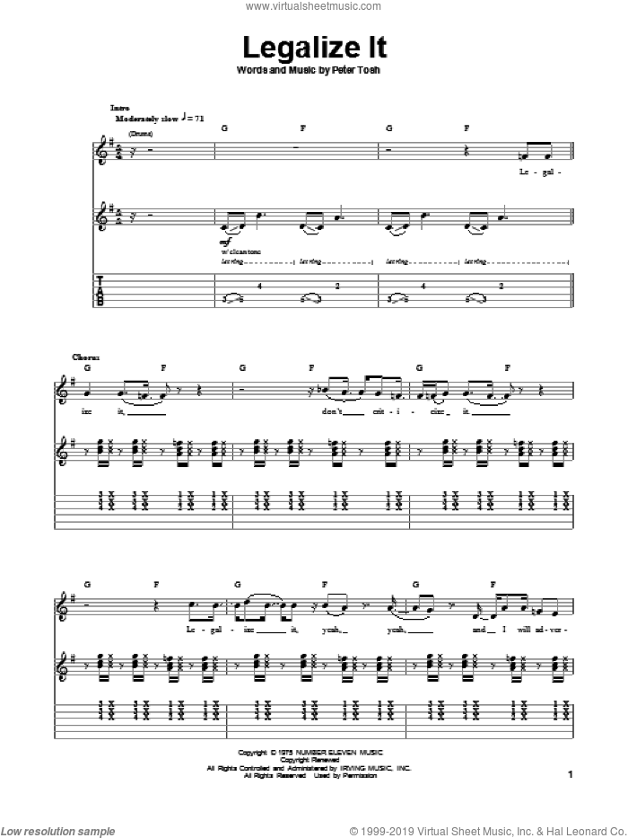 Legalize It sheet music for guitar (tablature, play-along) by Peter Tosh