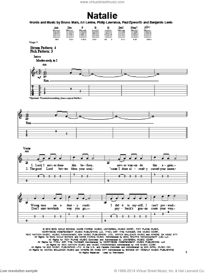Natalie sheet music for guitar solo (easy tablature) by Bruno Mars, easy guitar (easy tablature). Score Image Preview.
