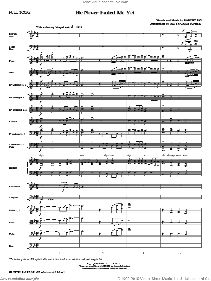 He Never Failed Me Yet (complete set of parts) sheet music for orchestra/band (Orchestra) by Keith Christopher, intermediate. Score Image Preview.