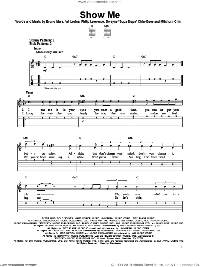 Show Me sheet music for guitar solo (easy tablature) by Bruno Mars. Score Image Preview.