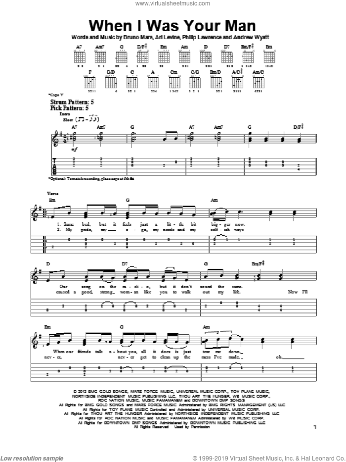 When I Was Your Man sheet music for guitar solo (easy tablature) by Bruno Mars. Score Image Preview.