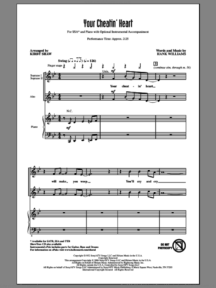 Your Cheatin' Heart sheet music for choir (SSA: soprano, alto) by Hank Williams, Kirby Shaw and Patsy Cline, intermediate