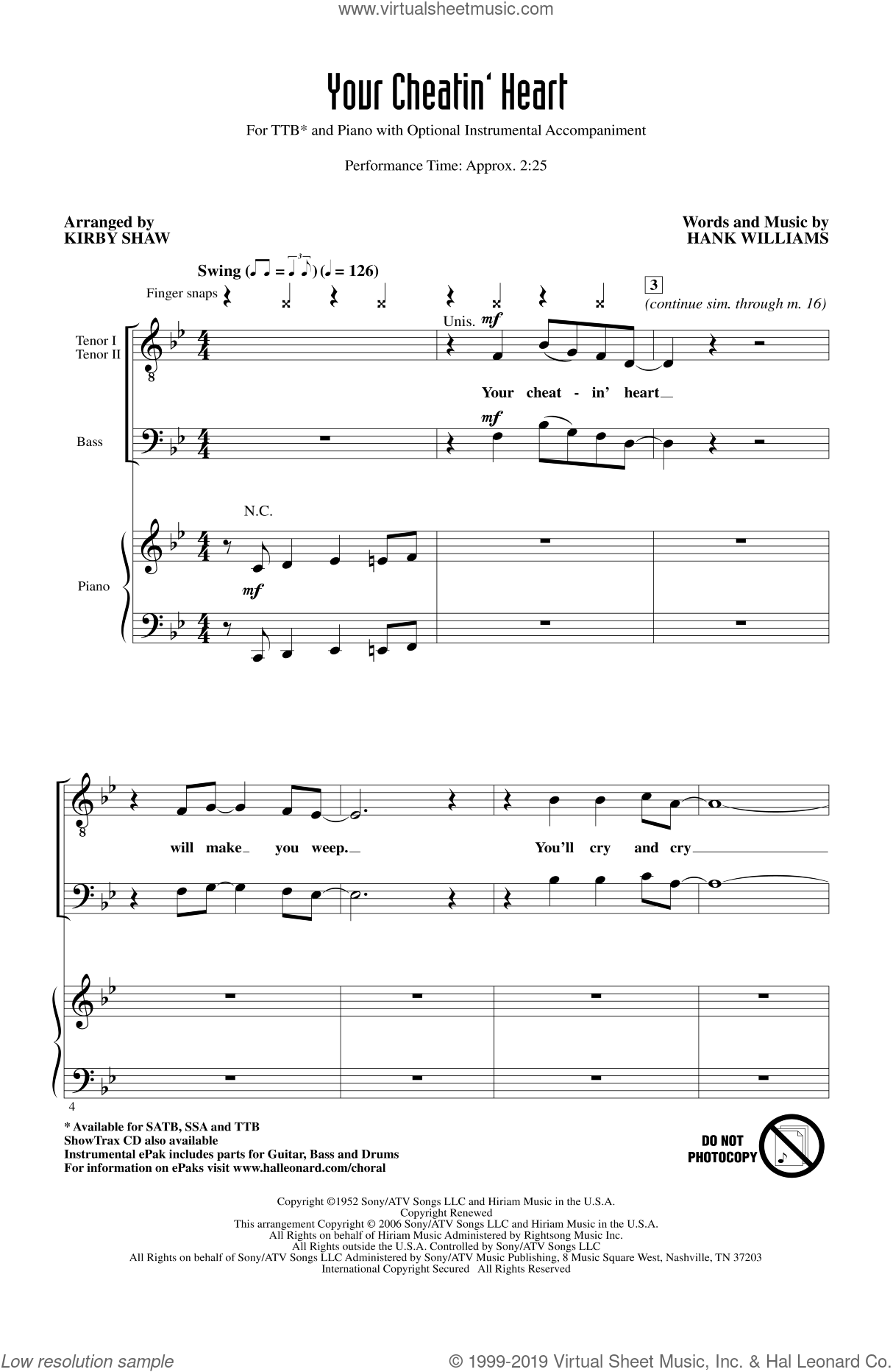 Your Cheatin' Heart sheet music for choir (TTBB: tenor, bass) by Hank Williams, Kirby Shaw and Patsy Cline, intermediate