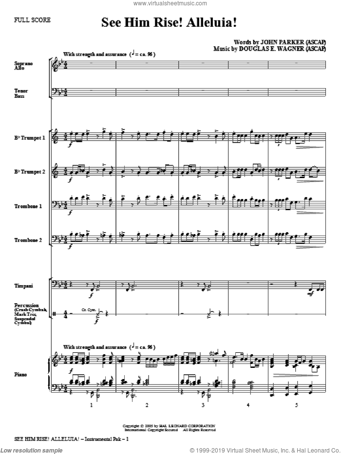 See Him Rise! Alleluia! (complete set of parts) sheet music for orchestra/band (Special) by Douglas E. Wagner and John Parker, intermediate. Score Image Preview.