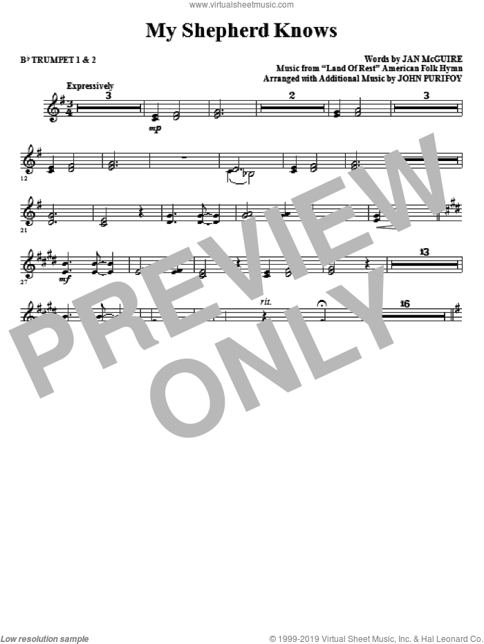 My Shepherd Knows (complete set of parts) sheet music for orchestra/band (Brass) by John Purifoy, Jan McGuire and Miscellaneous, intermediate skill level
