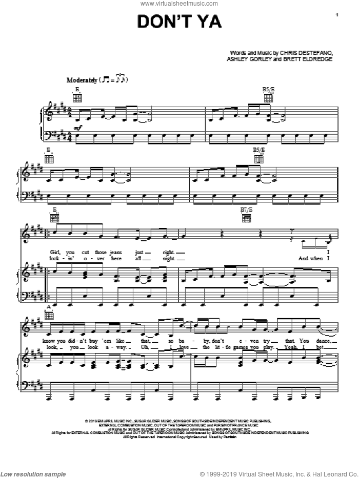 Don't Ya sheet music for voice, piano or guitar by Brett Eldredge, Ashley Gorley and Chris Destefano, intermediate voice, piano or guitar. Score Image Preview.