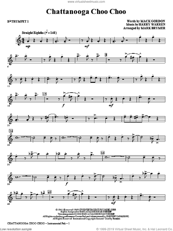 Chattanooga Choo Choo (complete set of parts) sheet music for orchestra/band by Harry Warren, Mack Gordon and Mark Brymer, intermediate skill level