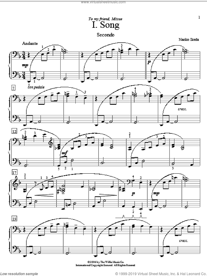 Song sheet music for piano four hands by Naoko Ikeda, intermediate skill level