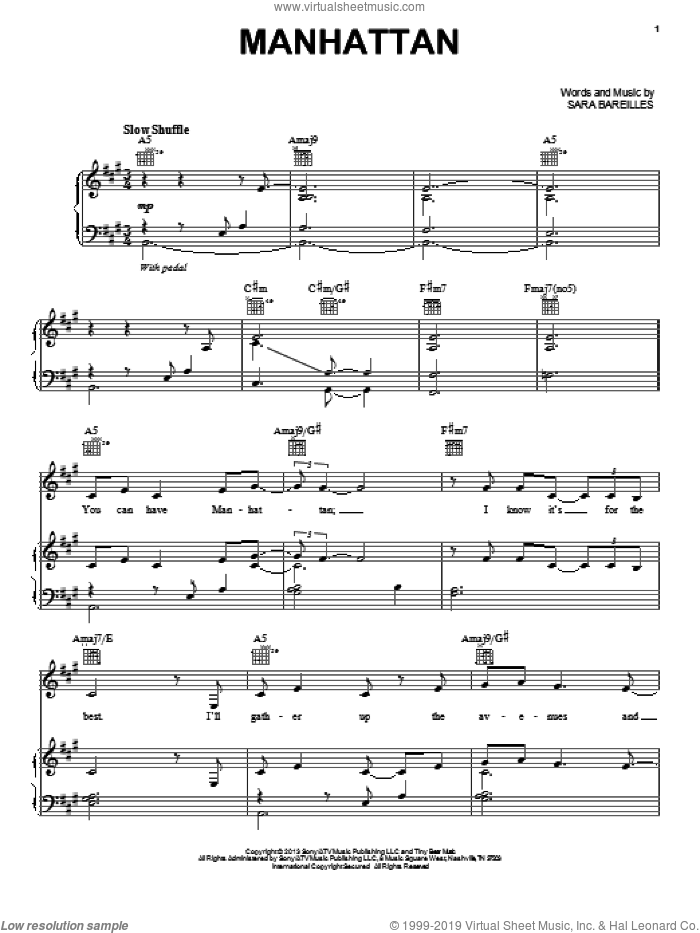 Manhattan sheet music for voice, piano or guitar by Sara Bareilles, intermediate voice, piano or guitar. Score Image Preview.