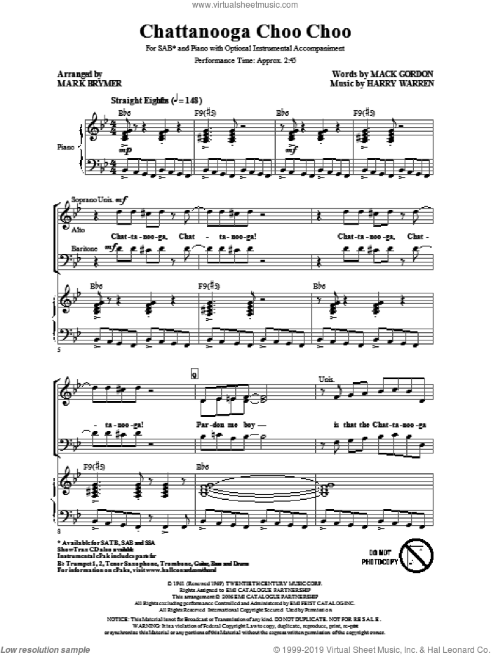 Chattanooga Choo Choo sheet music for choir (SAB: soprano, alto, bass) by Harry Warren, Mack Gordon and Mark Brymer, intermediate. Score Image Preview.