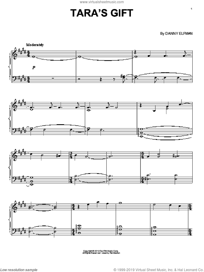 Tara's Gift sheet music for piano solo by Danny Elfman, intermediate piano. Score Image Preview.