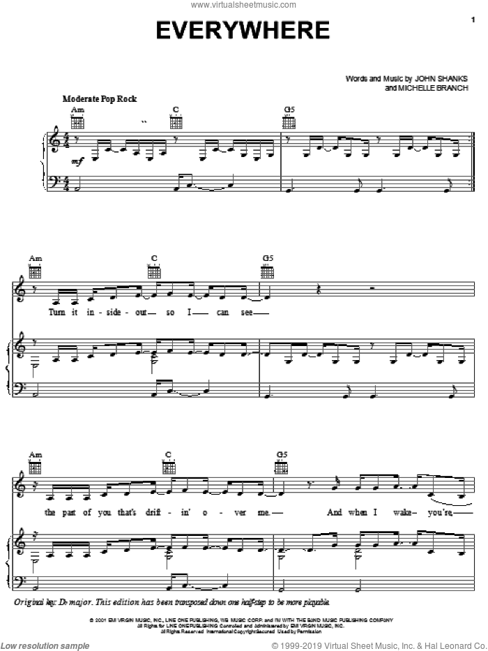 Everywhere sheet music for voice, piano or guitar by John Shanks and Michelle Branch. Score Image Preview.