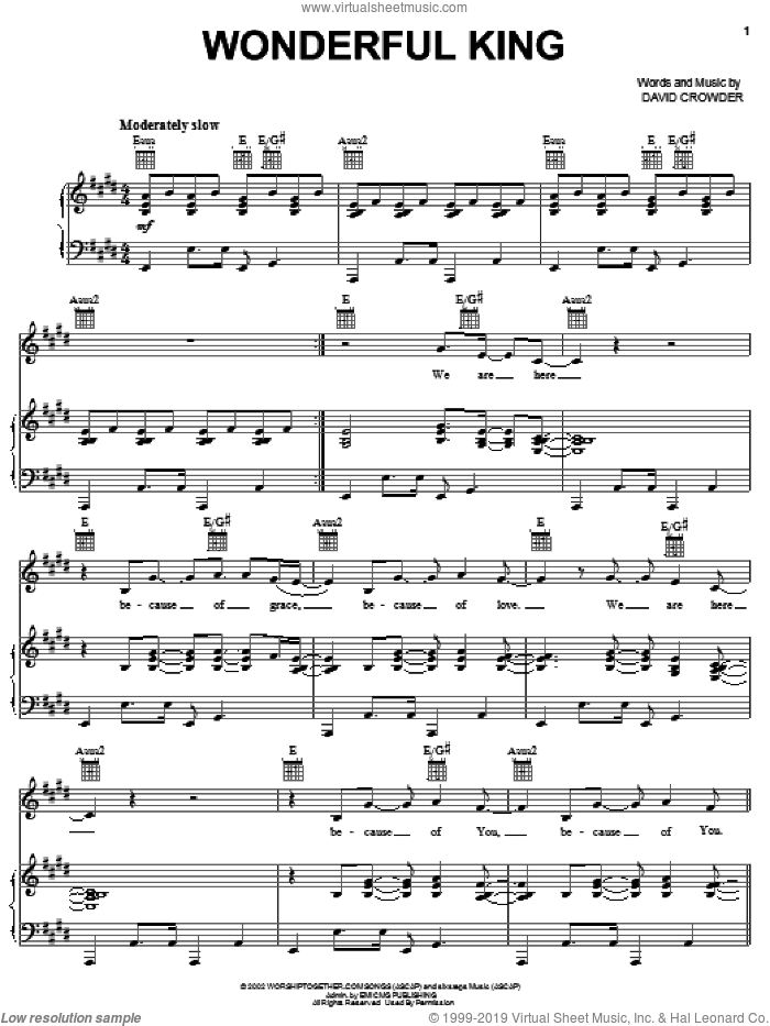 Wonderful King sheet music for voice, piano or guitar by David Crowder Band and David Crowder, intermediate skill level