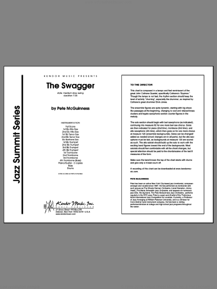 The Swagger sheet music for jazz band (full score) by McGuinness