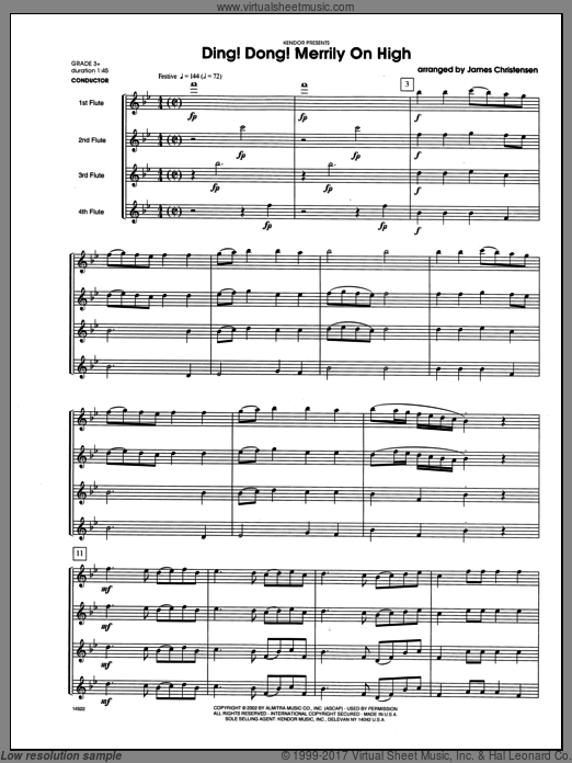 Ding! Dong! Merrily On High (COMPLETE) sheet music for flute quartet by Christensen