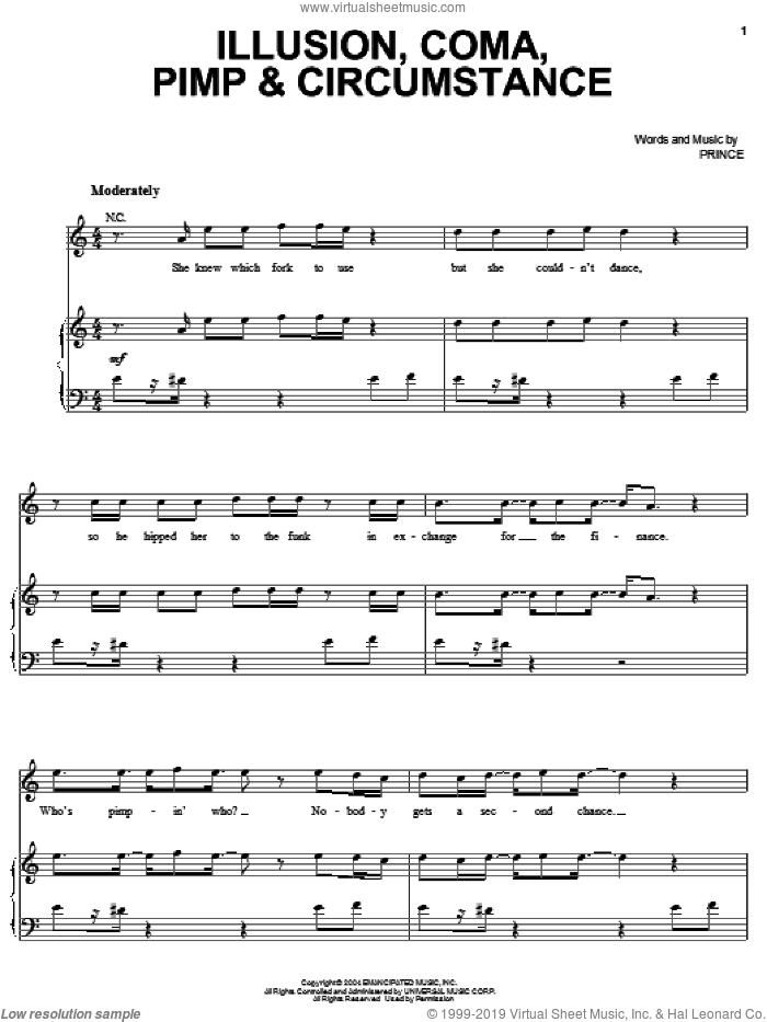 Illusion, Coma, Pimp and Circumstance sheet music for voice, piano or guitar by Prince, intermediate voice, piano or guitar. Score Image Preview.
