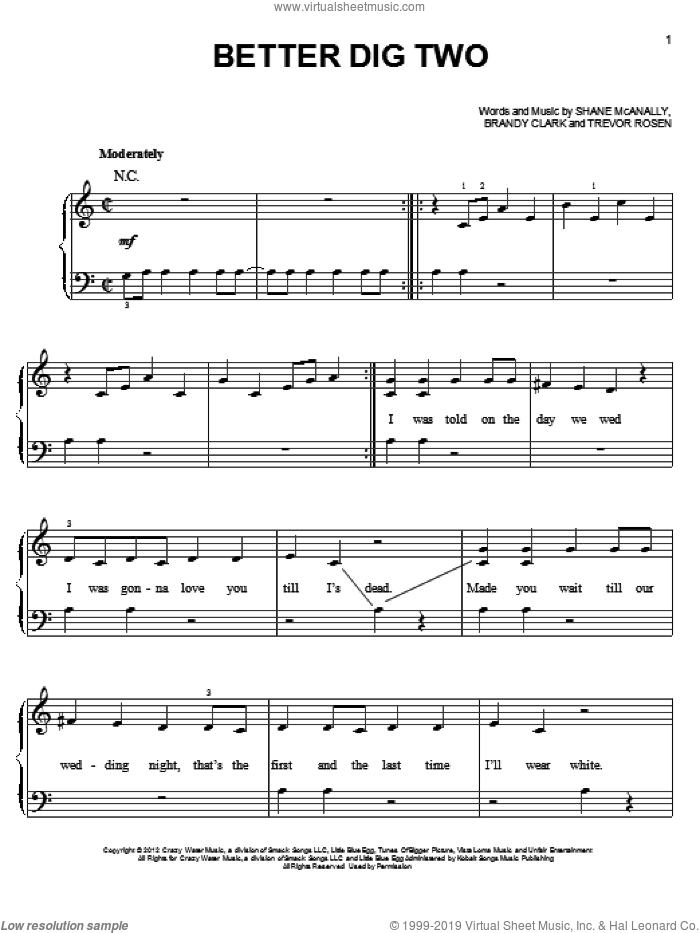 Better Dig Two sheet music for piano solo by The Band Perry, easy skill level