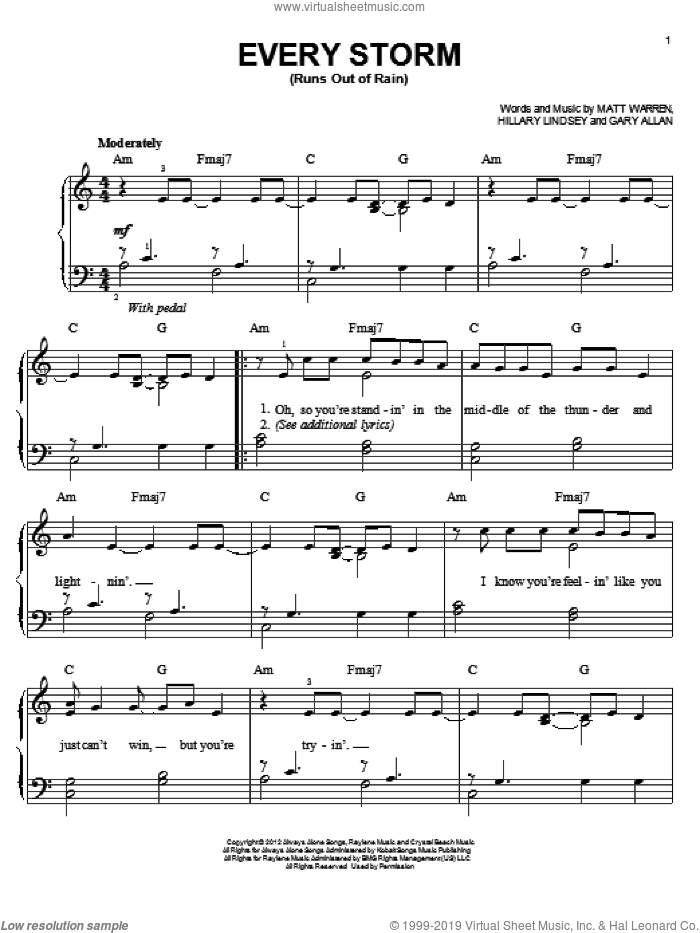 Every Storm (Runs Out Of Rain) sheet music for piano solo by Gary Allan, easy. Score Image Preview.