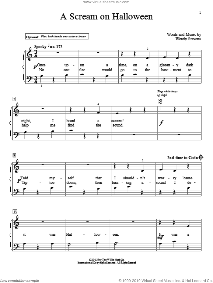 A Scream On Halloween sheet music for piano solo (elementary) by Wendy Stevens, beginner piano (elementary)