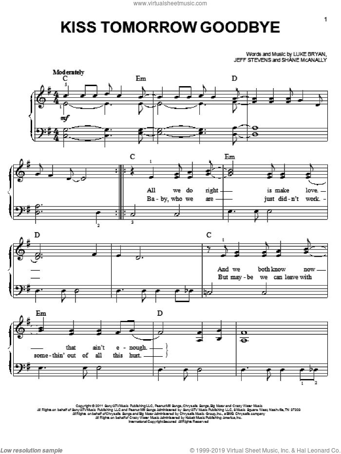 Kiss Tomorrow Goodbye sheet music for piano solo by Luke Bryan, easy skill level