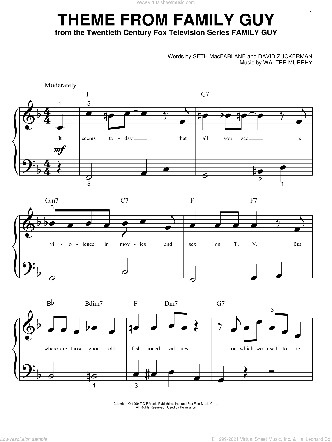 Theme From Family Guy sheet music for piano solo (big note book) by Seth MacFarlane, David Zuckerman and Walter Murphy, easy piano (big note book)