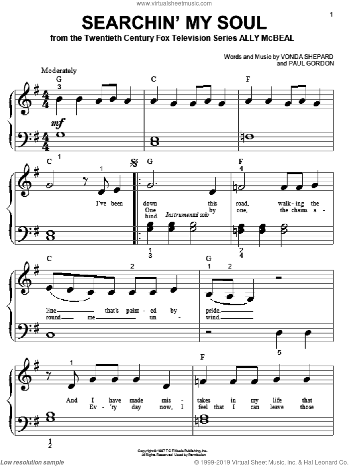Searchin' My Soul sheet music for piano solo (big note book) by Paul Gordon and Vonda Shepard. Score Image Preview.
