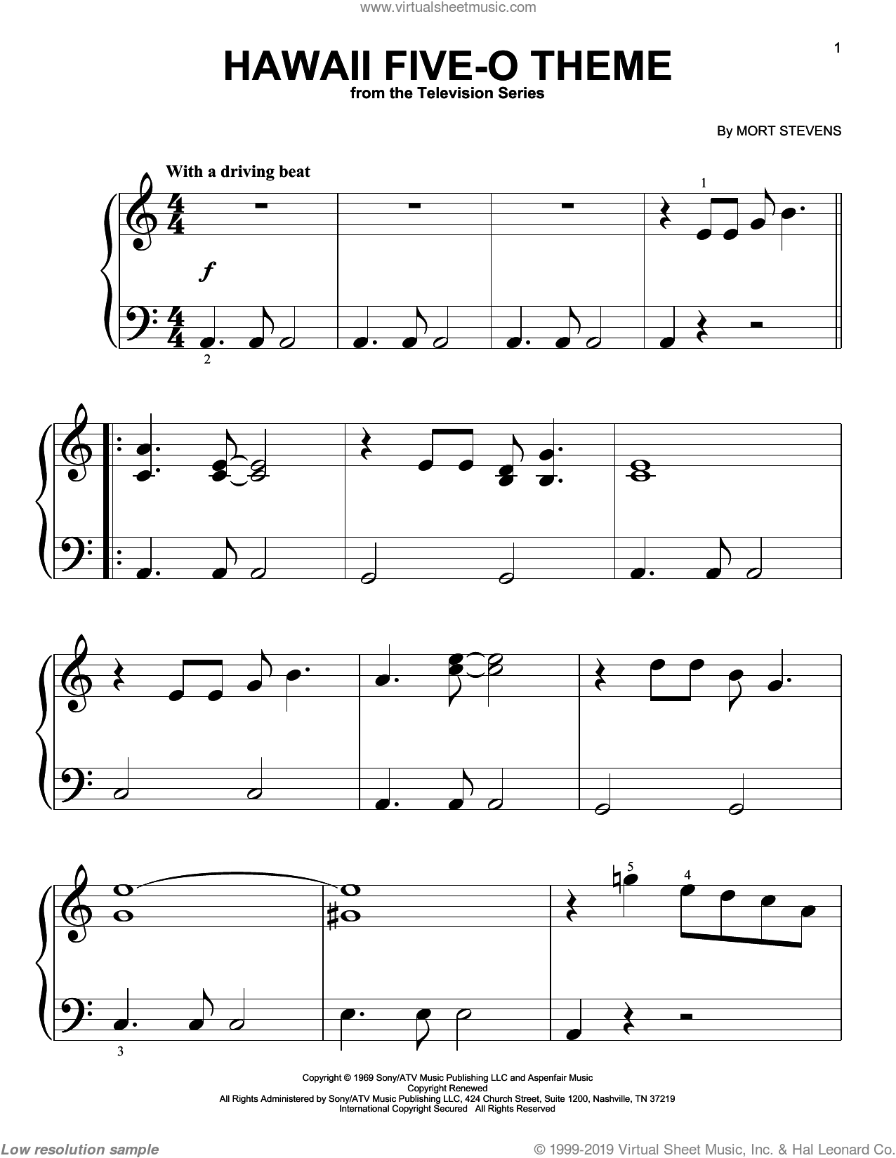 Hawaii Five-O Theme sheet music for piano solo (big note book) by Mort Stevens and The Ventures. Score Image Preview.