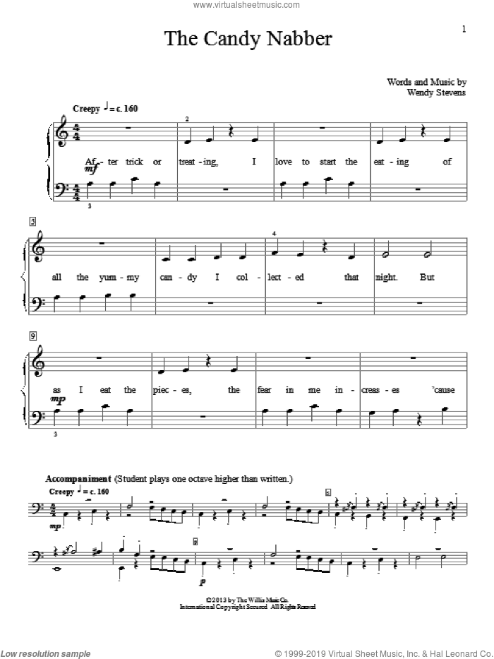 The Candy Nabber sheet music for piano solo (elementary) by Wendy Stevens. Score Image Preview.