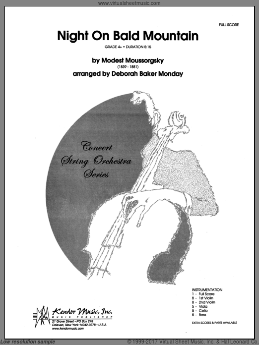 Night On Bald Mountain (COMPLETE) sheet music for orchestra by Moussorgsky