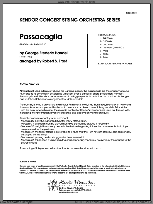 Passacaglia (COMPLETE) sheet music for orchestra by George Frideric Handel