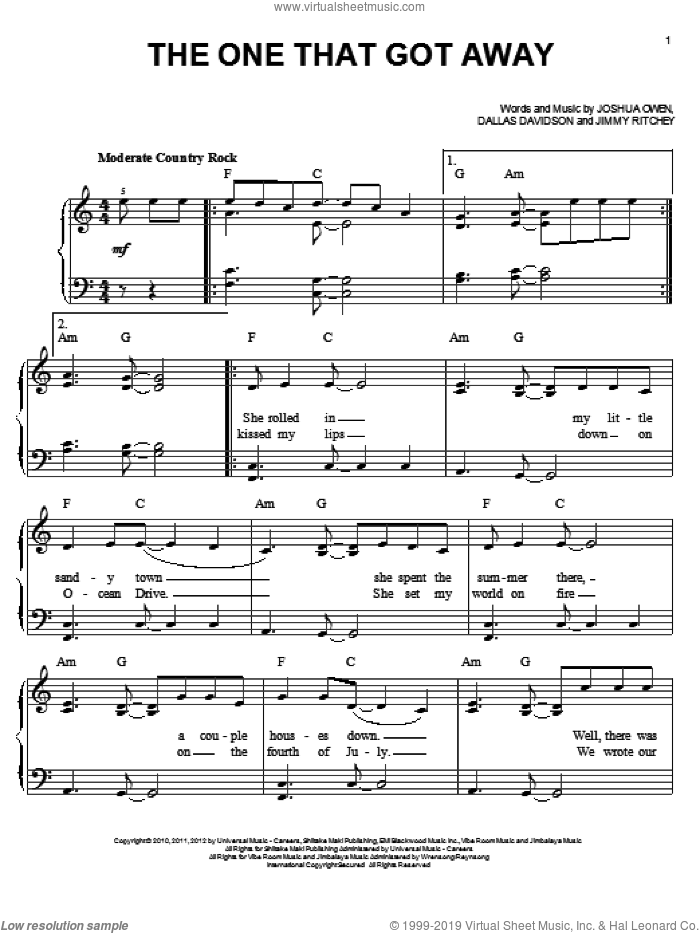 The One That Got Away sheet music for piano solo by Jake Owen, easy. Score Image Preview.