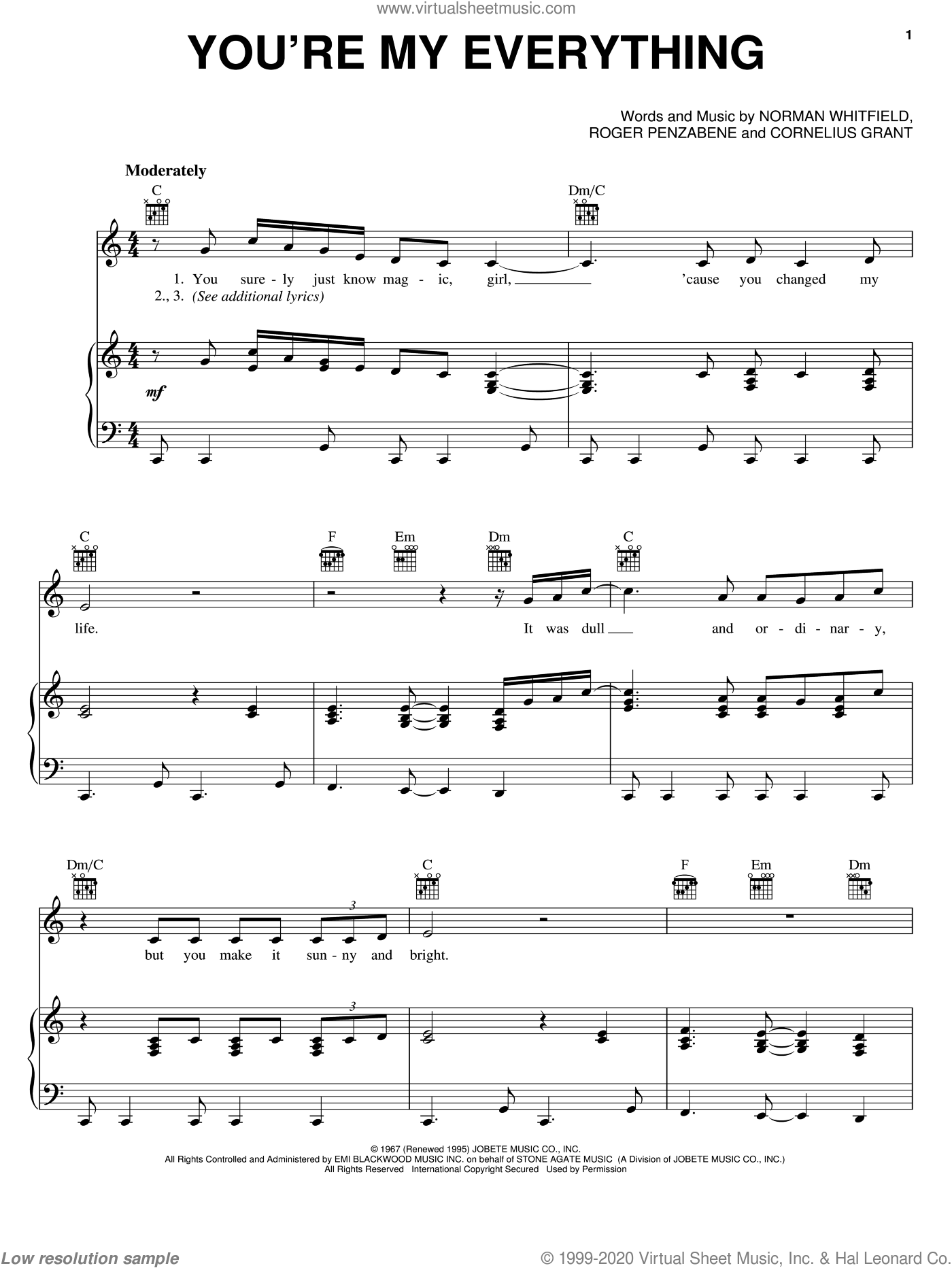 You're My Everything sheet music for voice, piano or guitar by The Temptations, Cornelius Grant, Norman Whitfield and Roger Penzabene, intermediate skill level