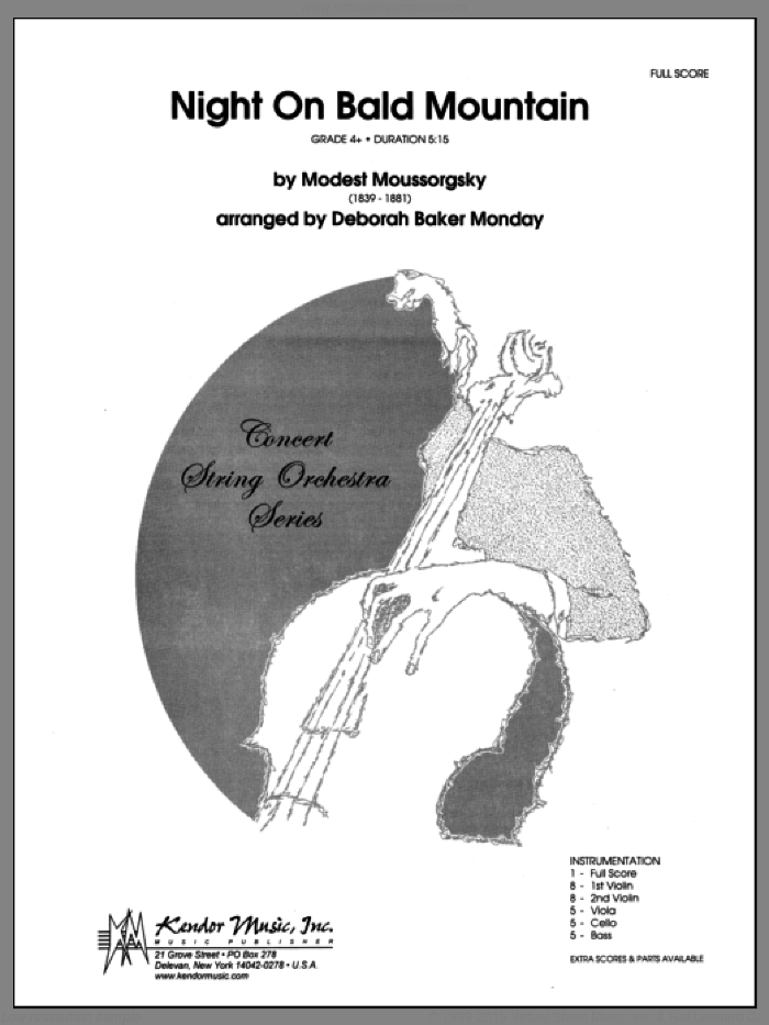 Night On Bald Mountain (COMPLETE) sheet music for orchestra by Modest Petrovic Mussorgsky and Monday, classical score, intermediate skill level