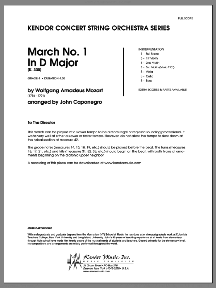 March No. 1 In D Major (K. 335) (COMPLETE) sheet music for orchestra by Wolfgang Amadeus Mozart and John Caponegro, classical score, intermediate skill level