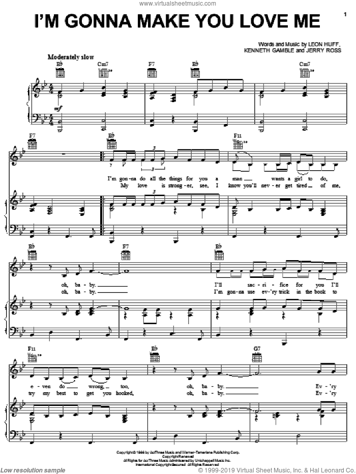 I'm Gonna Make You Love Me sheet music for voice, piano or guitar by Leon Huff