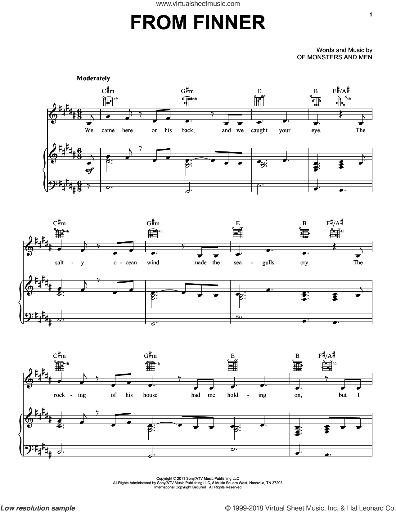From Finner sheet music for voice, piano or guitar by Of Monsters And Men, intermediate skill level