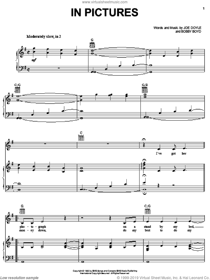 In Pictures sheet music for voice, piano or guitar by Joe Doyle and Alabama. Score Image Preview.