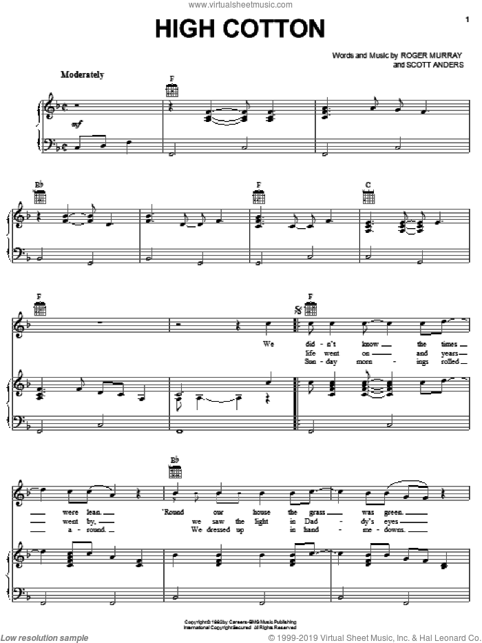 High Cotton sheet music for voice, piano or guitar by Scott Anders