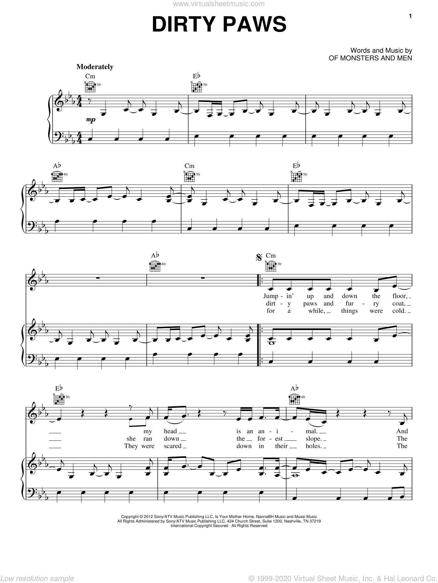 Dirty Paws sheet music for voice, piano or guitar by Of Monsters And Men. Score Image Preview.