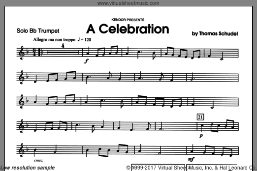 Celebration, A (COMPLETE) sheet music for trumpet and piano by Schudel