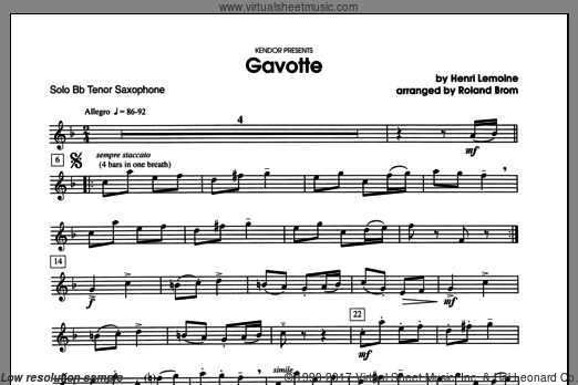 Gavotte (COMPLETE) sheet music for tenor saxophone and piano by Brom