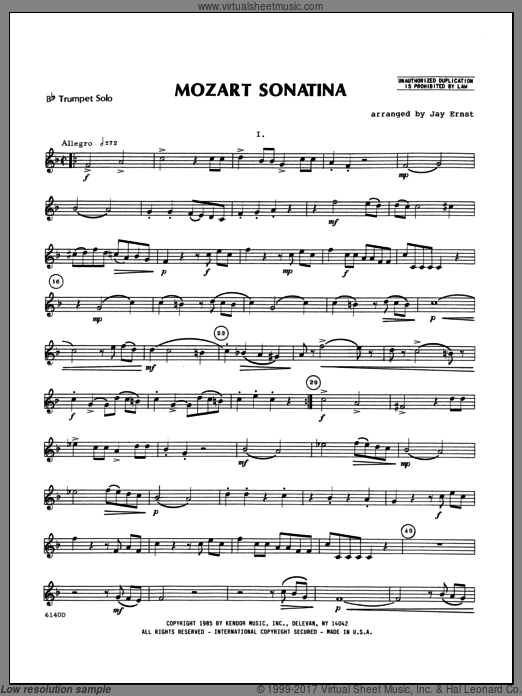 Mozart Sonatina (COMPLETE) sheet music for trumpet and piano by Wolfgang Amadeus Mozart