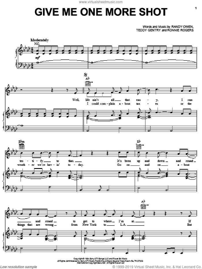 Give Me One More Shot sheet music for voice, piano or guitar by Alabama, Randy Owen, Ronnie Rogers and Teddy Gentry, intermediate skill level