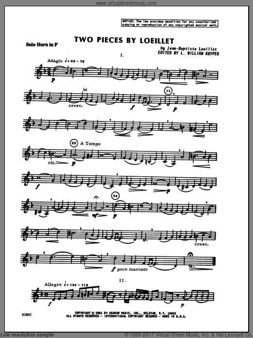 Two Pieces By Loeillet (COMPLETE) sheet music for horn and piano by Loeillet